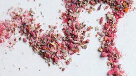 Aveņu rozā sāls mocarellai un zaļajiem salātiem 50g.